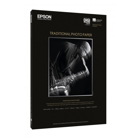 A4 Epson Traditional Photo Paper 330g, 25 sheets