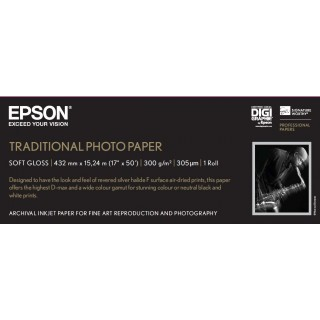 "Epson Traditional Photo Paper 300 17""x15m rull"