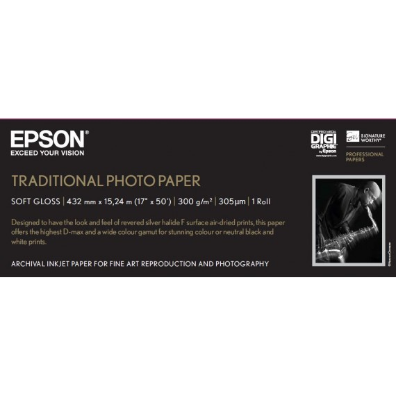 """Epson Traditional Photo Paper 300 17""""x15m rull"""