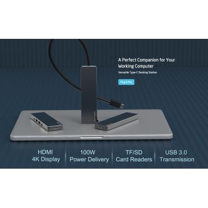 USB-C Hub til 4K HDMI, 100W, Kortleser SD/TF, 2x USB 3 porter og 1x USB-C port