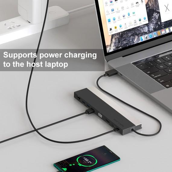 WAVLINK USB-C DOCKING STATION MED VGA, DISPLAY PORT, HDMI OG USB-C. UMD03