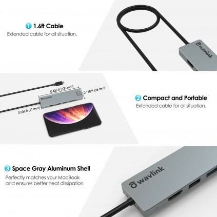 WAVLINK USB-C travel mini hub- kortleser+HDMI+PD lading