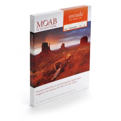 """Moab Entrada Bright 300, 36""""x48 tommer,  25 ark, tosidig, kritthvitt kunstfotopapir"""